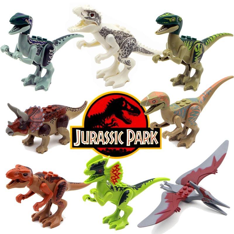 8Pcs Jurassic Park World DYI Mini Dinosaur Figures Building Gift Set For Kids