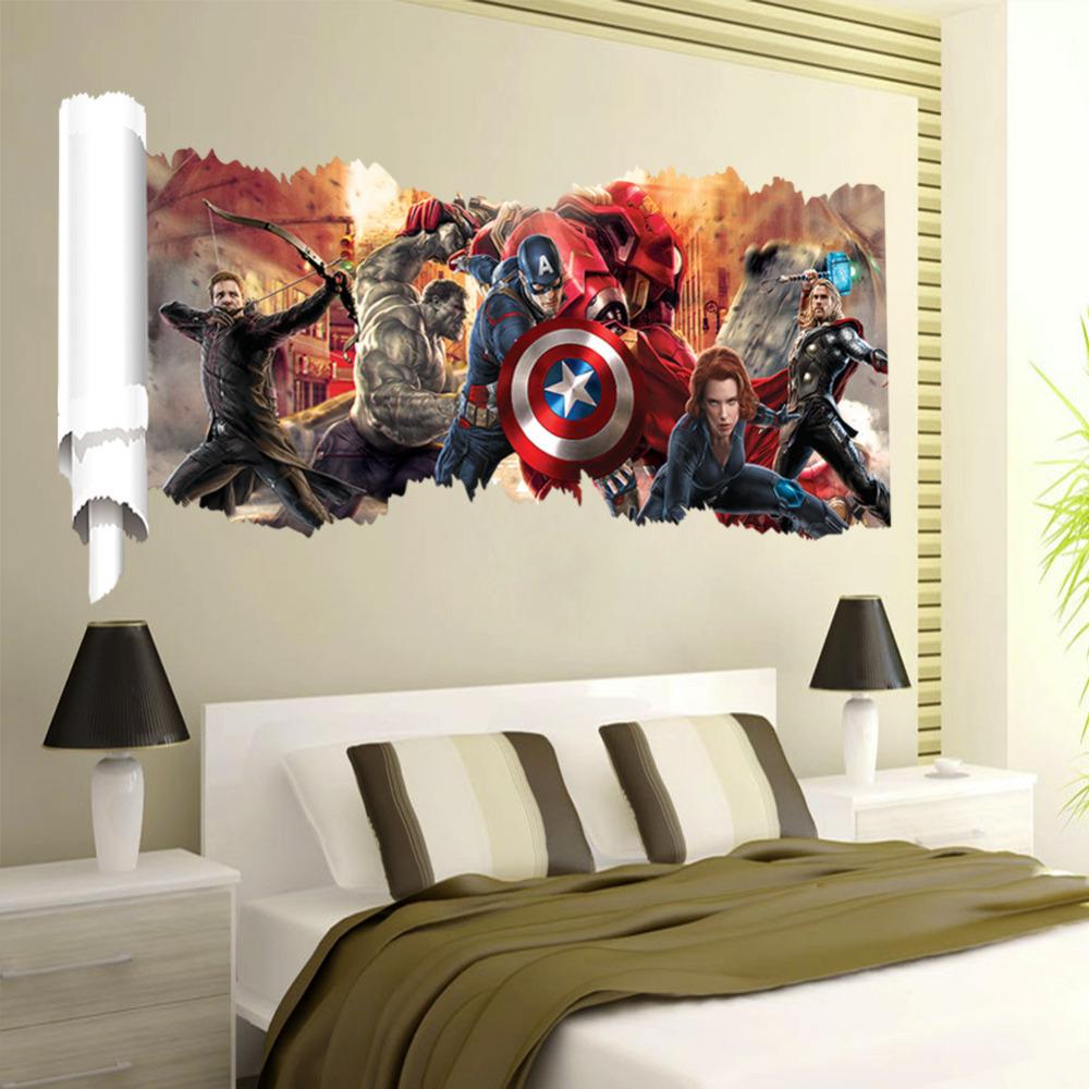 Cartoon 3d Popular Super Hero Wall Sticker For Boys Room