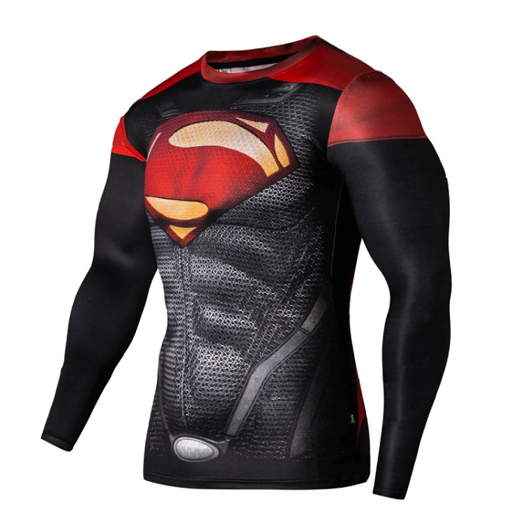 Mens Marvel Superhero Long T Shirts Compression Workout Tops 3D Cosplay Jersey