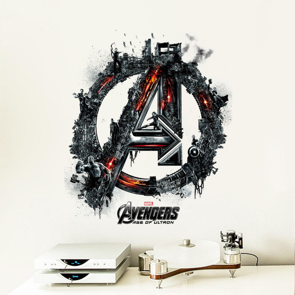 Movie The Avengers 3d Wall Stickers The Super Hero Art Vinyl Decal Kids Rooms Decoration Removable Boys Mural Modern Home Decor