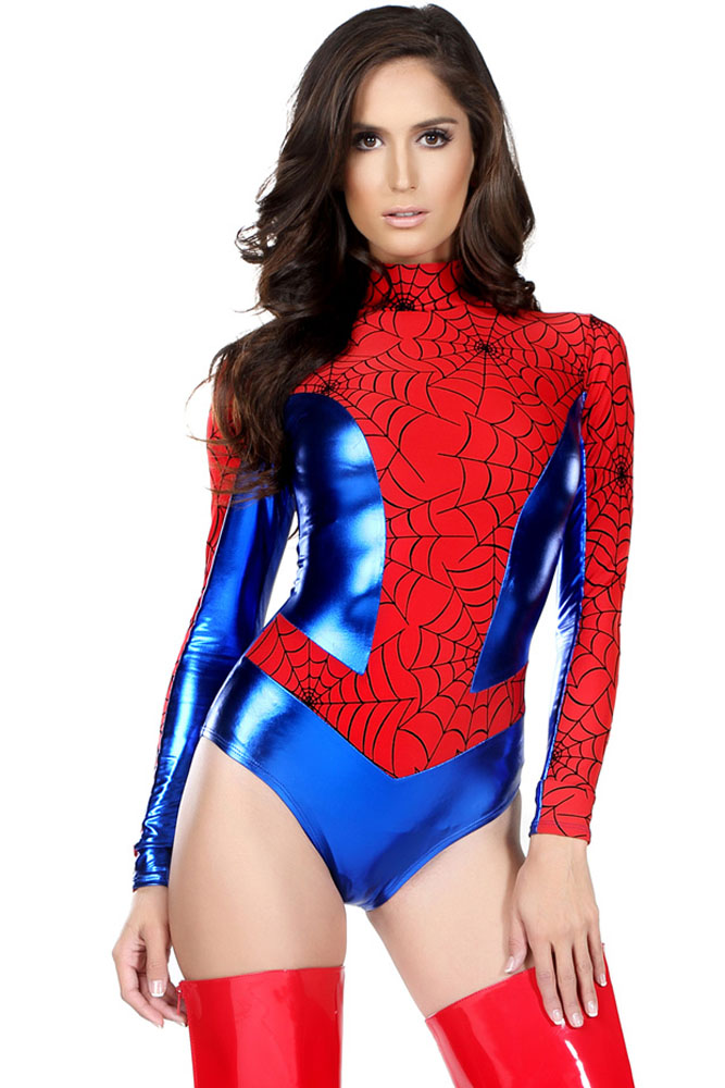 61a006be431 Shiny Metallic Leather Red Long Sleeve Spider Women Super Hero ...