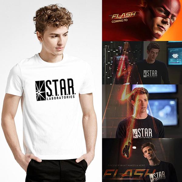 31d11ce5 Super Hero Style Black Grey White The Flash Star Lab Letter Print Short  Sleeve T Shirt Men Clothing Printed T-shirt Mens Tshirt – Super Heroes  Galore