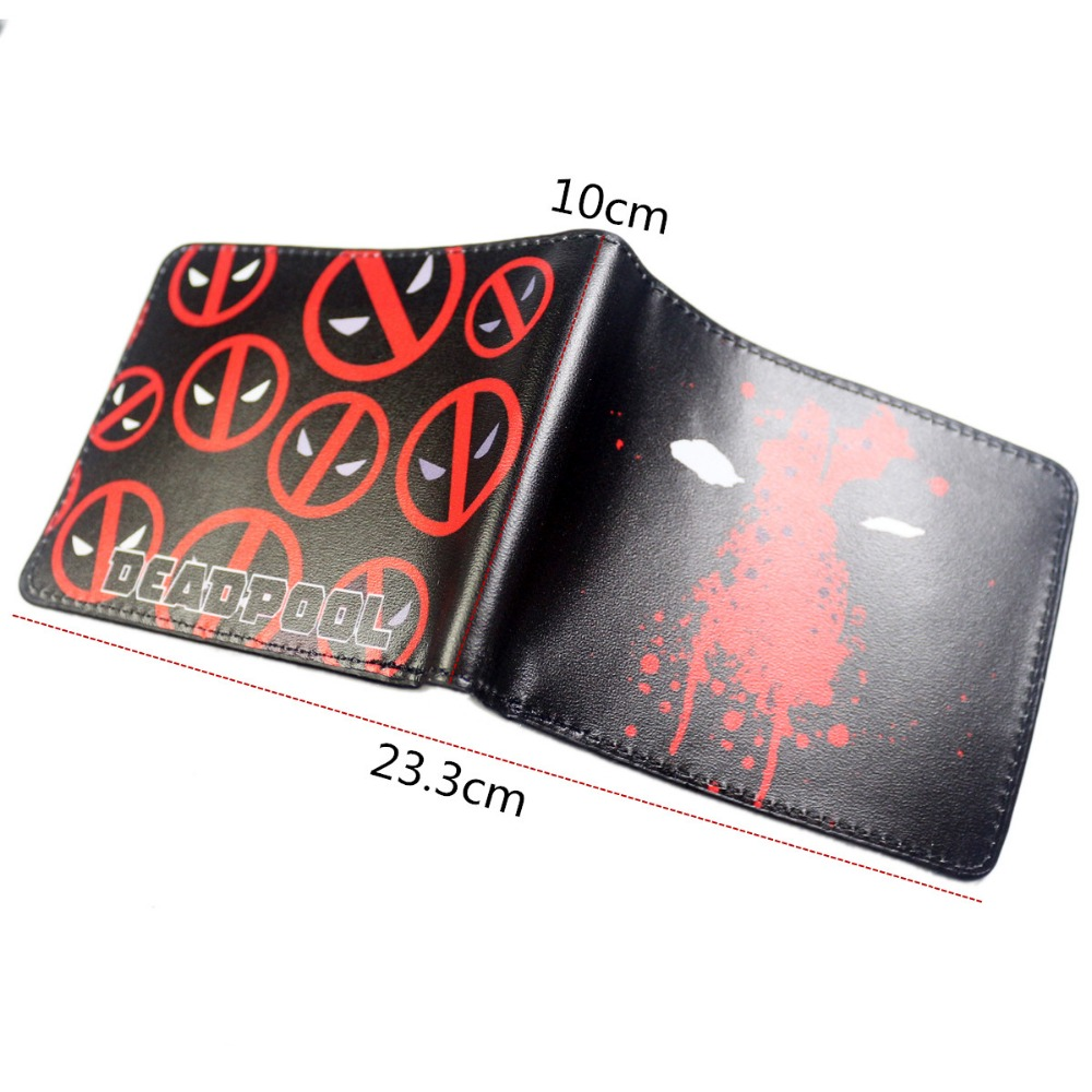 Mens Leather Bi-Fold Wallet with DEADPOOL Superhero Image *Great Gift*